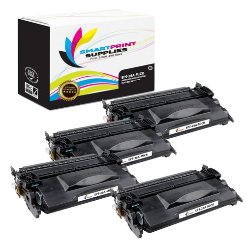 4 Pack HP 26A CF226A Replacement Black MICR Toner Cartridge by Smart Print Supplies