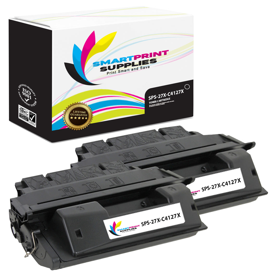 2 Pack HP 27X Black High Yield Toner Cartridge Replacement By Smart Print Supplies