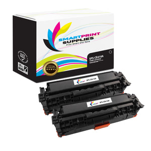 2 Pack HP 305A/305X CE410A Replacement Black Toner Cartridge by Smart Print Supplies