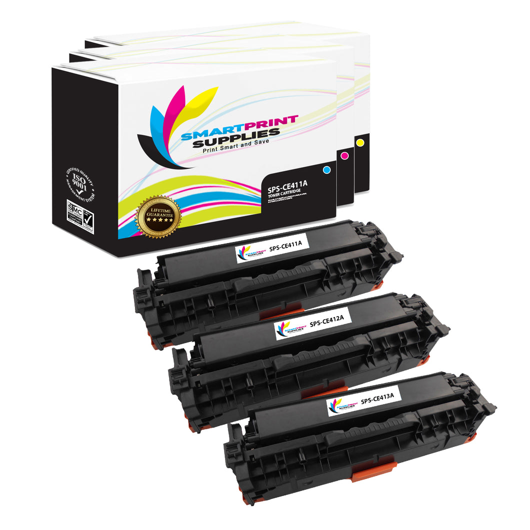 3 Pack HP 305A/305X Replacement (CMY) Toner Cartridge by Smart Print Supplies