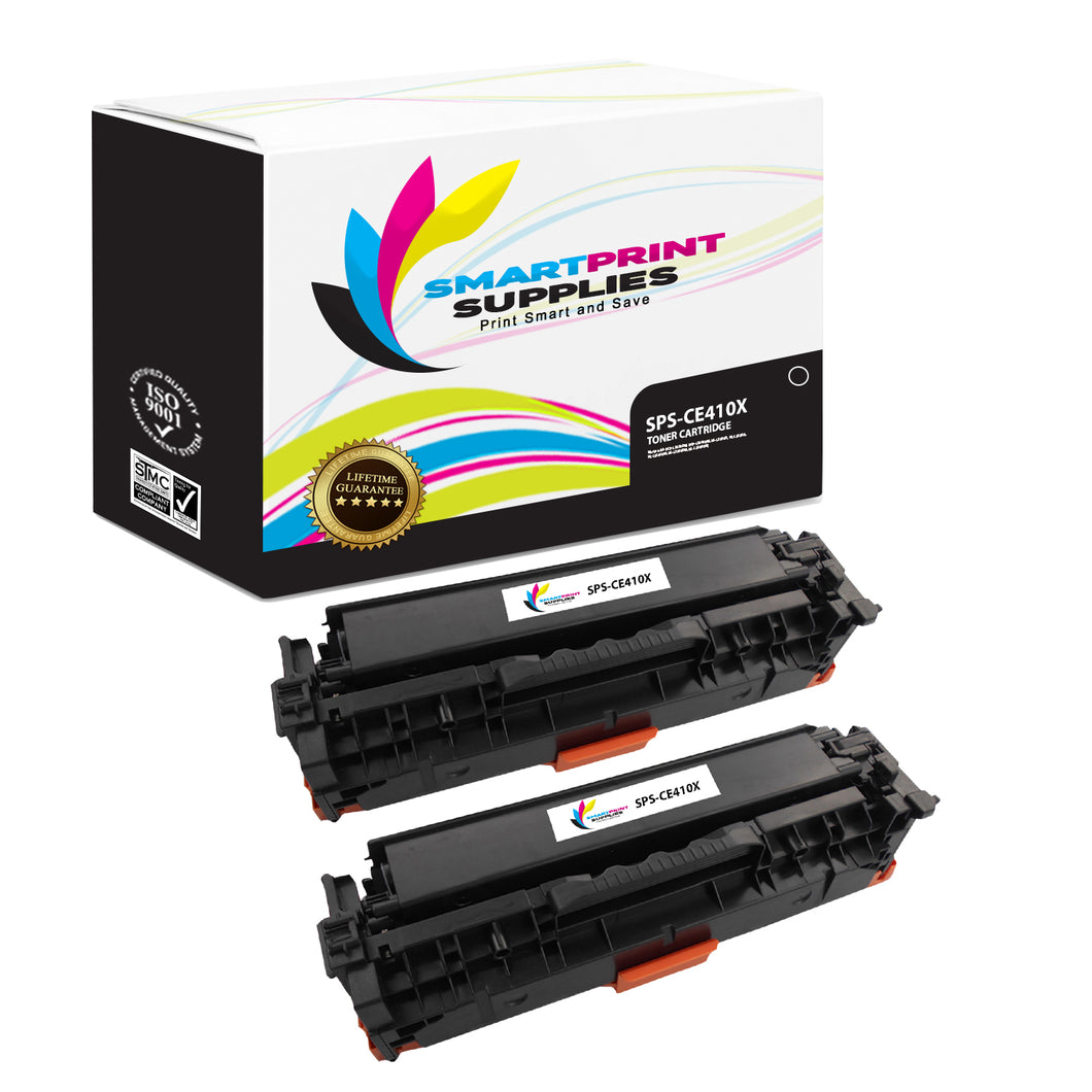 2 Pack HP 305A/305X CE410X Replacement Black Toner Cartridge by Smart Print Supplies