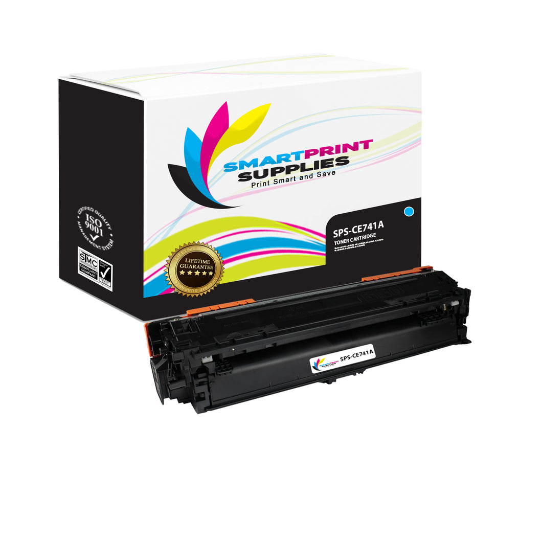 HP 307A CE741A Replacement Cyan Toner Cartridge by Smart Print Supplies