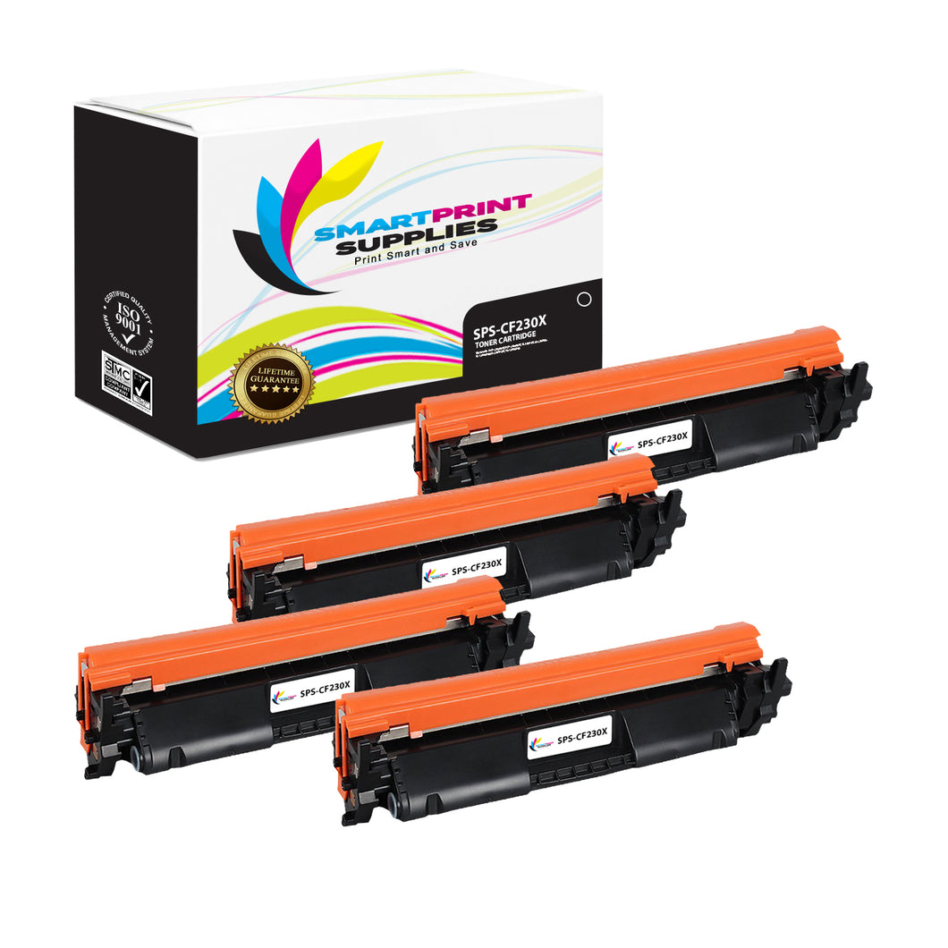 4 Pack HP 30X (CF230X) Black Toner Cartridge Replacement By Smart Print Supplies