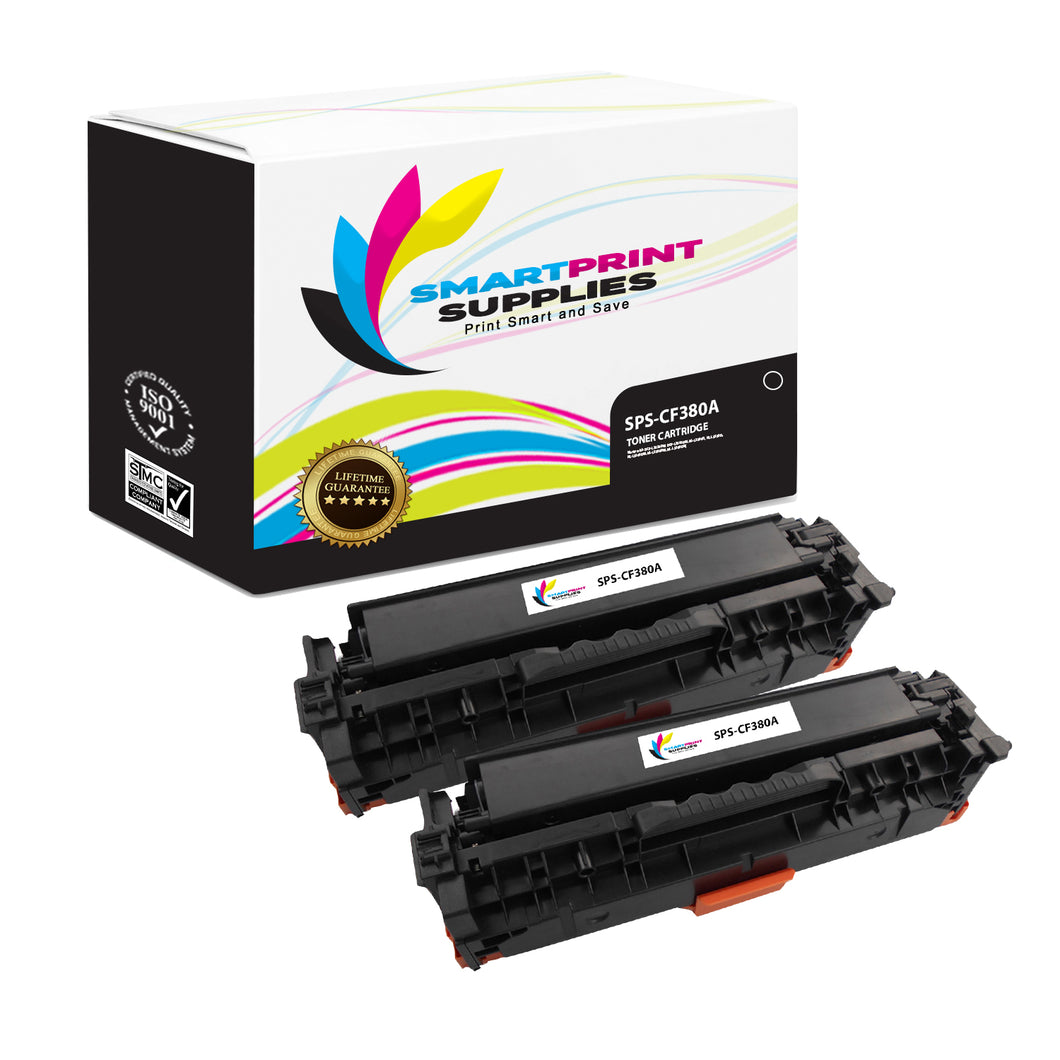 Smart Print Supplies CF380A 312A Replacement Black Toner Cartridge Two Pack