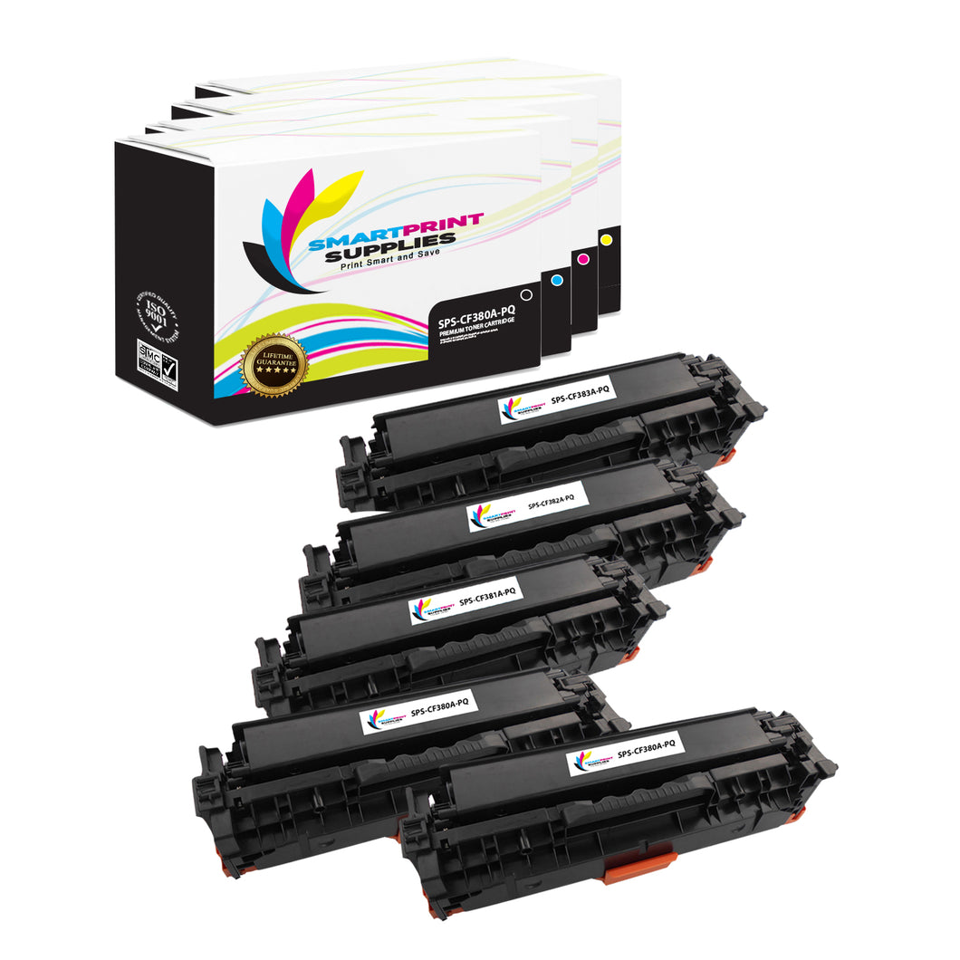 5 Pack HP 312A/312X Premium Replacement (CMYK) Toner Cartridge by Smart Print Supplies