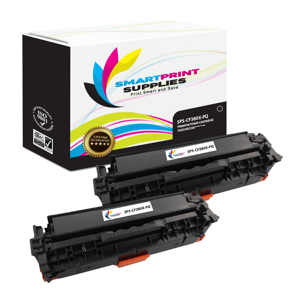 2 Pack HP 312A/312X CF380X Premium Replacement Black High Yield Toner Cartridge by Smart Print Supplies