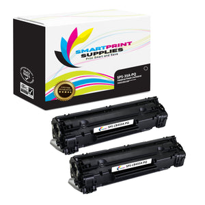 2 Pack HP 35A CB435A Premium Replacement Black Toner Cartridge by Smart Print Supplies