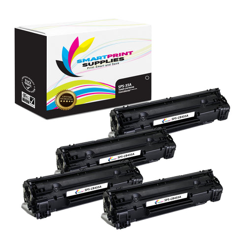 4 Pack HP 35A CB435A Replacement Black Toner Cartridge by Smart Print Supplies
