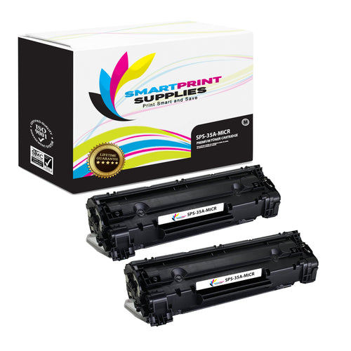2 Pack HP 35A CB435A Replacement Black MICR Toner Cartridge by Smart Print Supplies