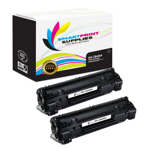 2 Pack HP 36A CB436A Replacement Black Toner Cartridge by Smart Print Supplies