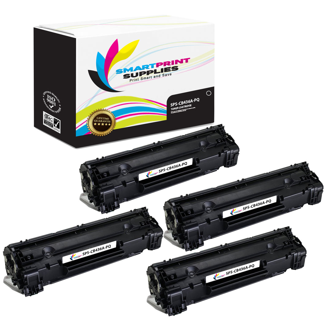 4 Pack HP 36A CB436A Premium Replacement Black Toner Cartridge by Smart Print Supplies