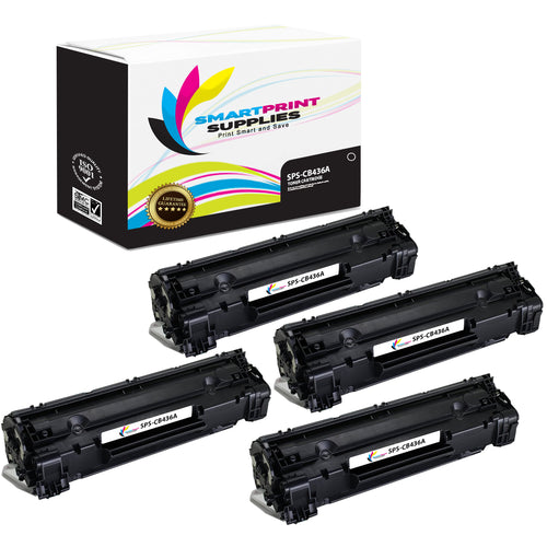 4 Pack HP 36A CB436A Replacement Black Toner Cartridge by Smart Print Supplies