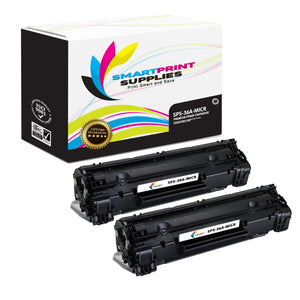 2 Pack HP 36A CB436A Replacement Black MICR Toner Cartridge by Smart Print Supplies