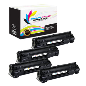 4 Pack HP 36A CB436A Replacement Black MICR Toner Cartridge by Smart Print Supplies