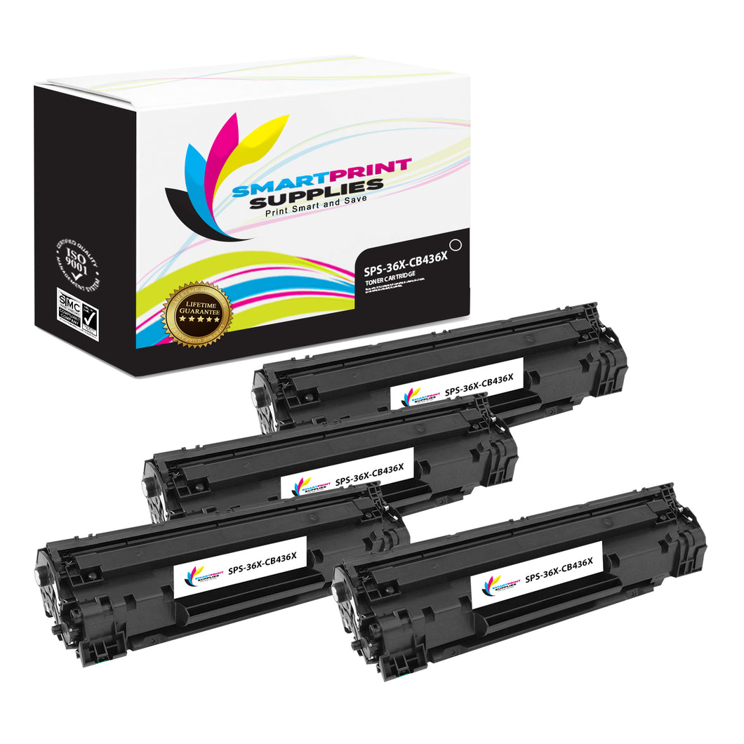 4 Pack HP 36X Black Jumbo Yield Toner Replacement By Smart Print Supplies