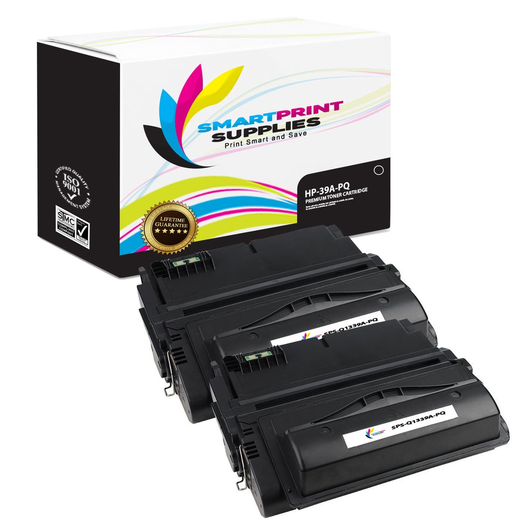 2 Pack HP 39A Q1339A Premium Replacement Black Toner Cartridge by Smart Print Supplies