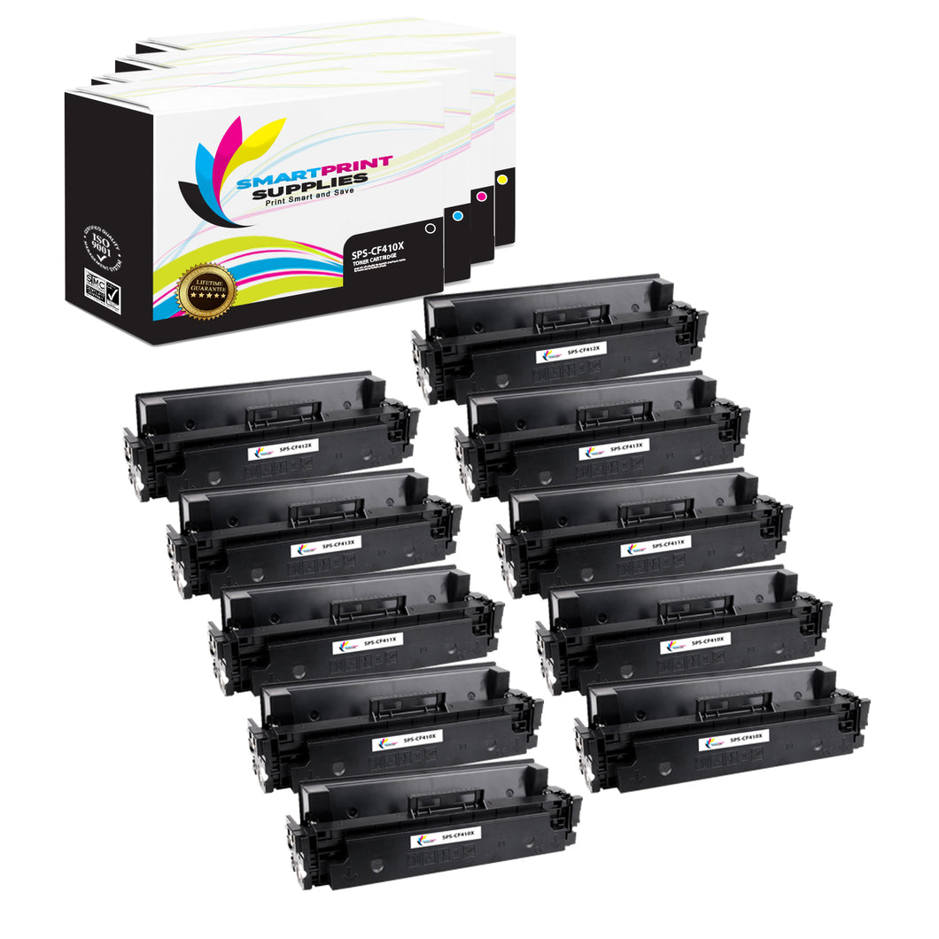 10 Pack HP 410X 4 Colors High Yield Toner Cartridge Replacement By Smart Print Supplies
