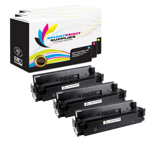 3 Pack HP 410X Premium Replacement (CMY) High Yield Toner Cartridge by Smart Print Supplies