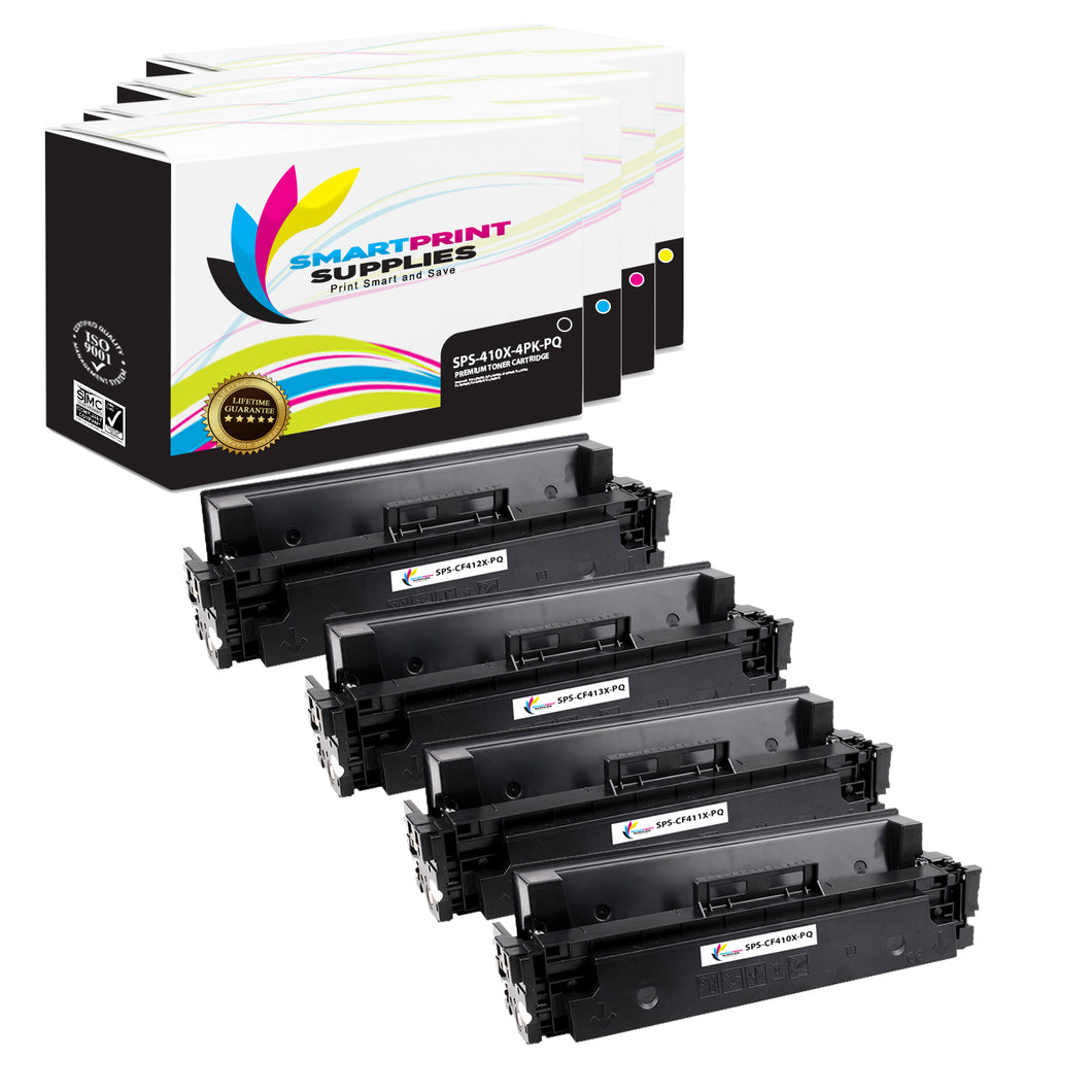 4 Pack HP 410X Premium Replacement (CMYK) High Yield Toner Cartridge by Smart Print Supplies