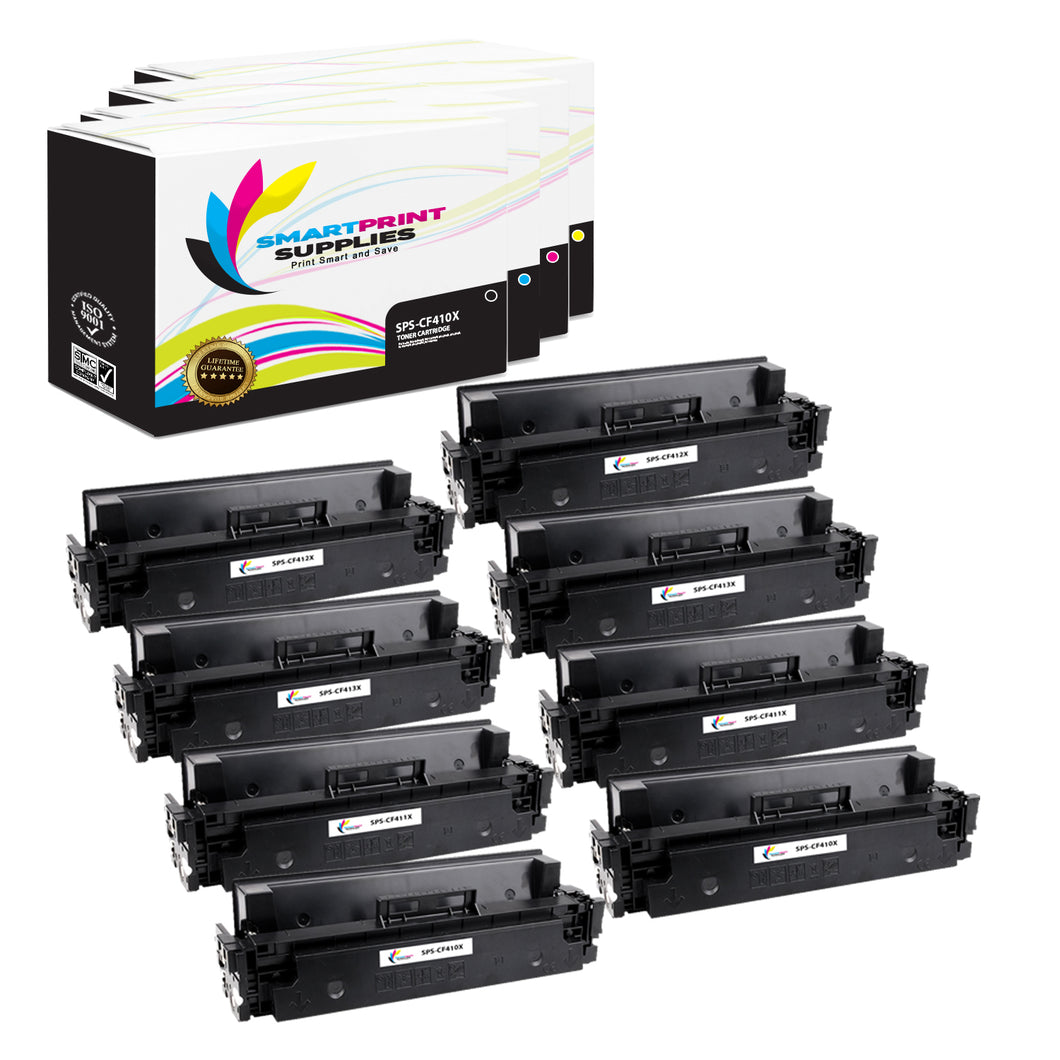 8 Pack HP 410X 4 Colors High Yield Toner Cartridge Replacement By Smart Print Supplies