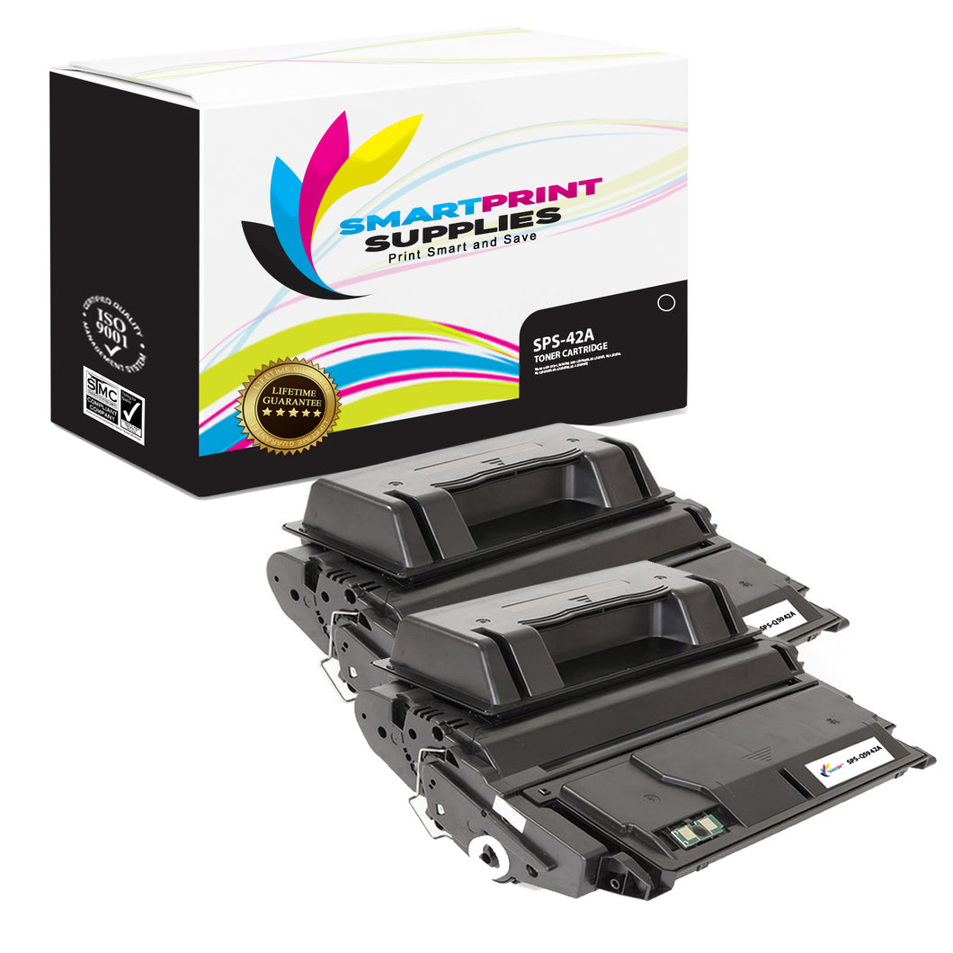 2 Pack HP 42A Black Toner Cartridge Replacement By Smart Print Supplies