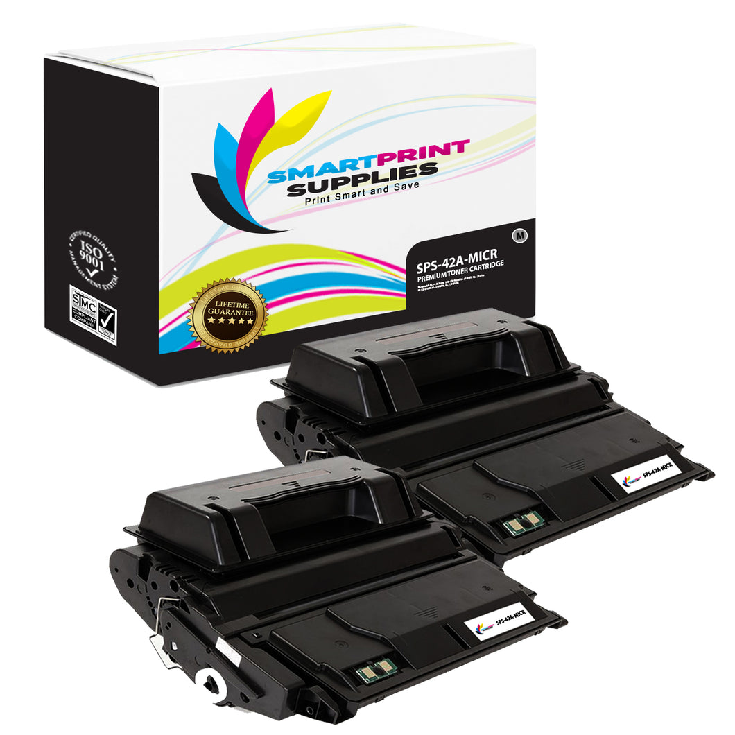 2 Pack HP 42A Q5942A Replacement Black MICR Toner Cartridge by Smart Print Supplies