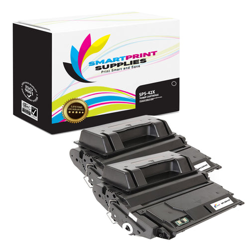 2 Pack HP 42X Q5942X Replacement Black Toner Cartridge by Smart Print Supplies