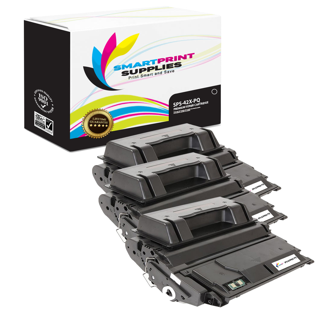 3 Pack HP 42X Q5942X Premium Replacement Black Toner Cartridge by Smart Print Supplies