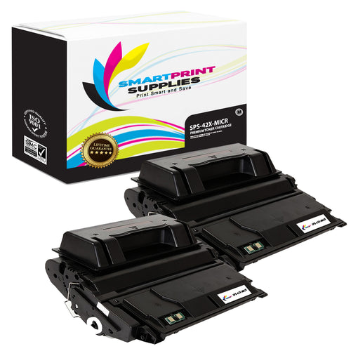 2 Pack HP 42X Q5942X Replacement Black High Yield MICR Toner Cartridge by Smart Print Supplies