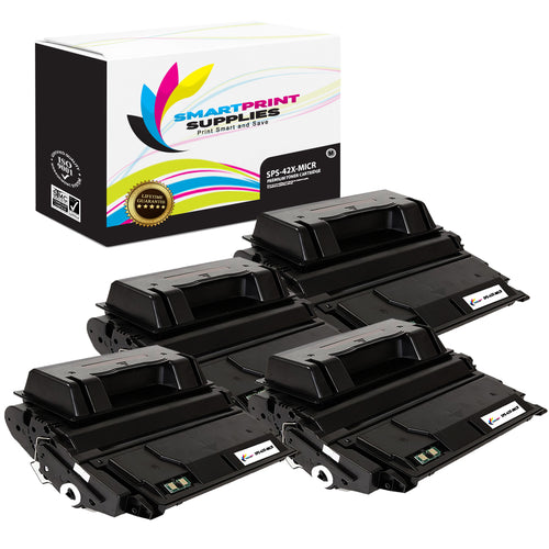 4 Pack HP 42X Q5942X Replacement Black High Yield MICR Toner Cartridge by Smart Print Supplies