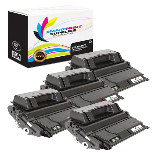 4 Pack HP 45A Q5945A Replacement Black MICR Toner Cartridge by Smart Print Supplies