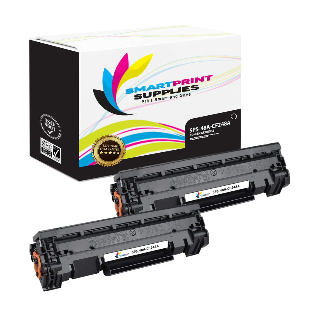 2 Pack HP 48A Black Toner Cartridge Replacement By Smart Print Supplies