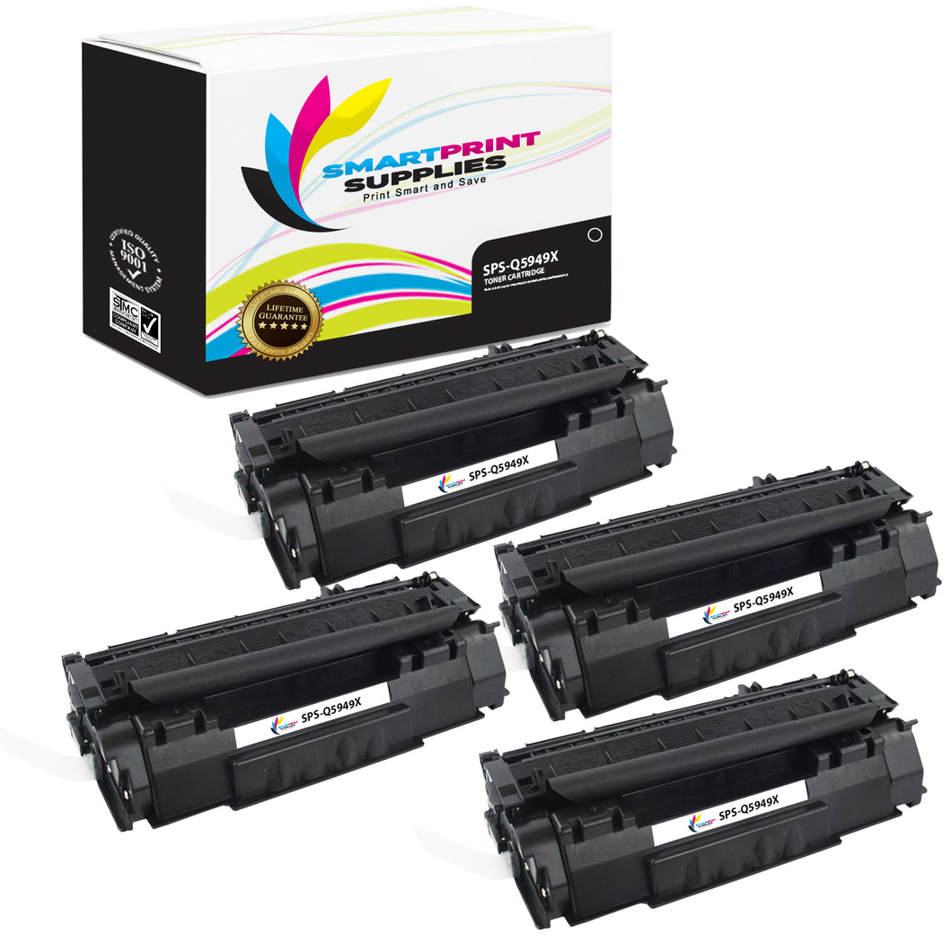 4 Pack HP 49X Black Toner Cartridge Replacement By Smart Print Supplies