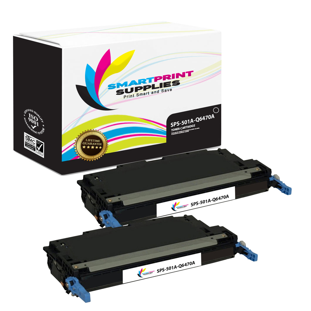 2 Pack HP 501A/502A Black Toner Cartridge Replacement By Smart Print Supplies