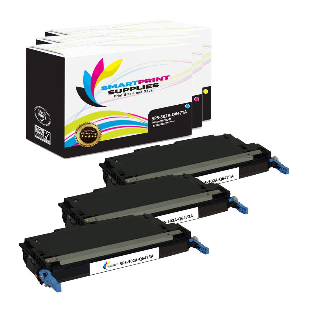 3 Pack HP 501A/502A 3 Colors Toner Cartridge Replacement By Smart Print Supplies