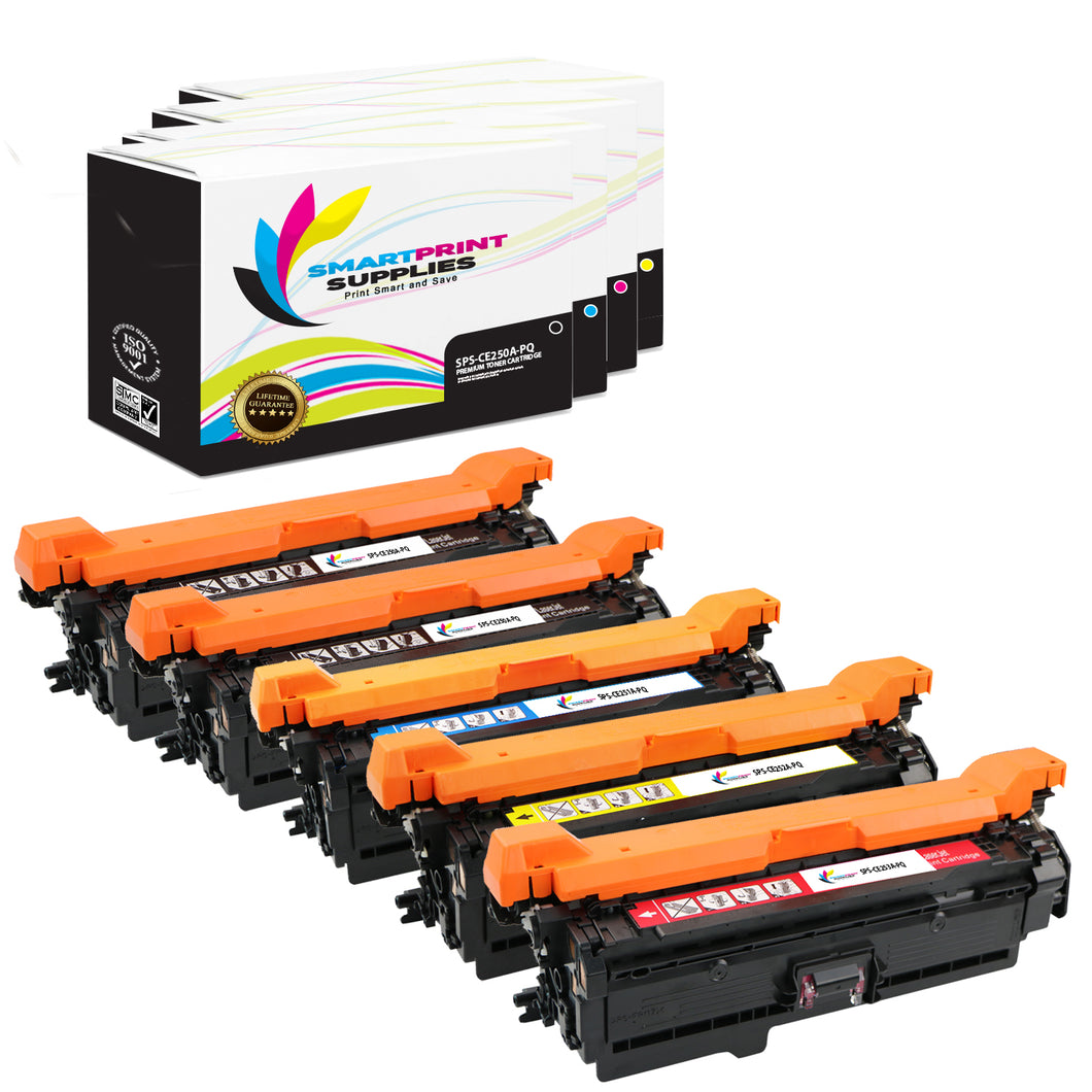 5 Pack HP 504A/504X Premium Replacement Black Toner Cartridge by Smart Print Supplies /5,000 per black , and 7,000 per color Pages