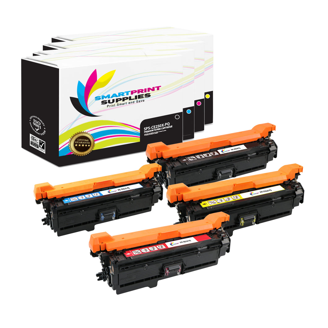 4 Pack HP 504X Premium Replacement (CMYK) Toner Cartridge by Smart Print Supplies
