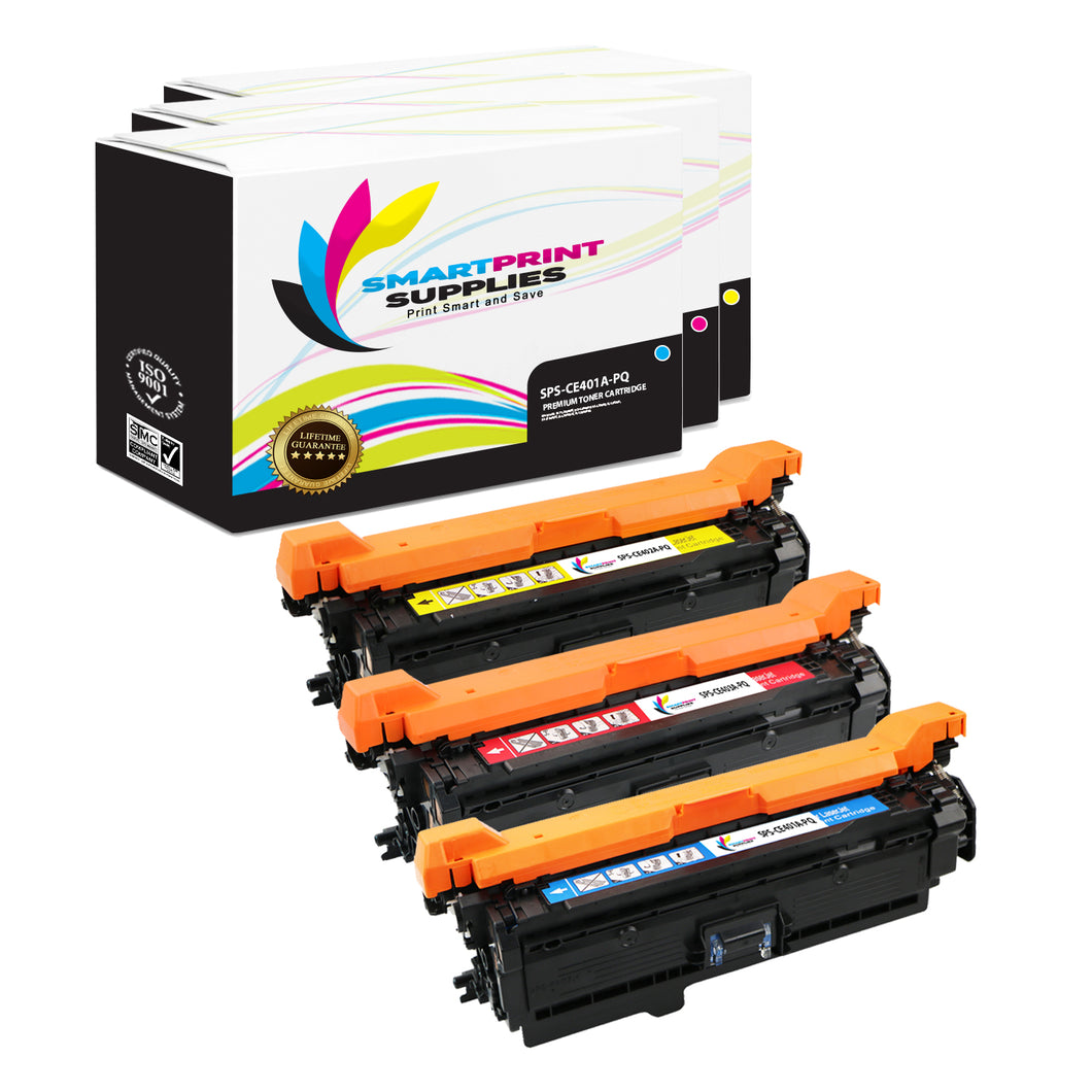 3 Pack HP 507A/507X Premium Replacement (CMY) Toner Cartridge by Smart Print Supplies