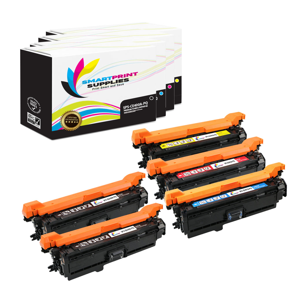 5 Pack HP 507A/507X Premium Replacement (CMYK) Toner Cartridge by Smart Print Supplies