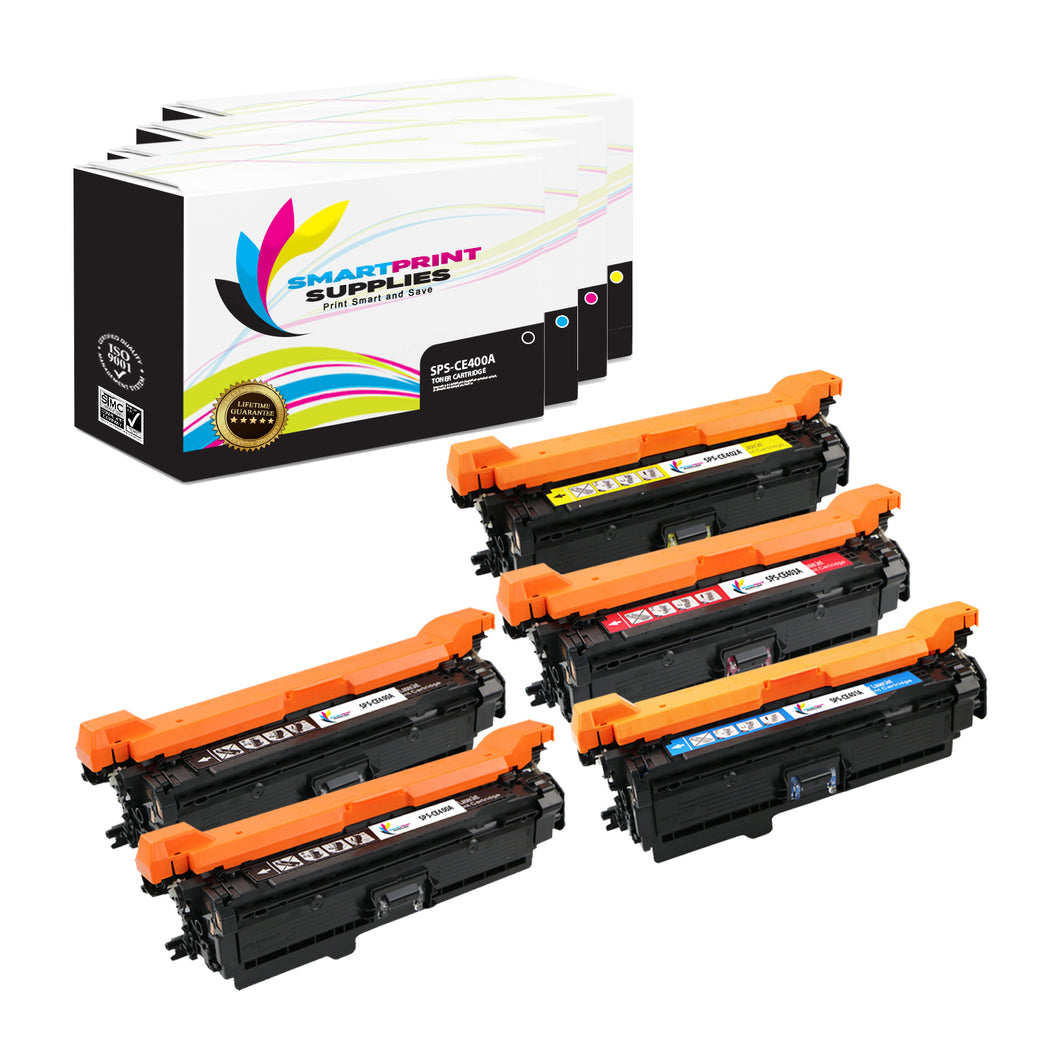 5 Pack HP 507A/507X 4 Colors Toner Cartridge Replacement By Smart Print Supplies