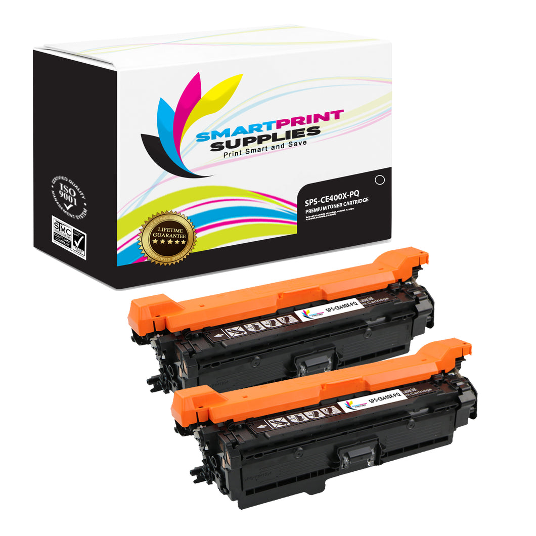 2 Pack HP 507A/507X CE400X Premium Replacement Black Toner Cartridge by Smart Print Supplies