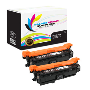 2 Pack HP 507A/507X CE400X Replacement Black Toner Cartridge by Smart Print Supplies