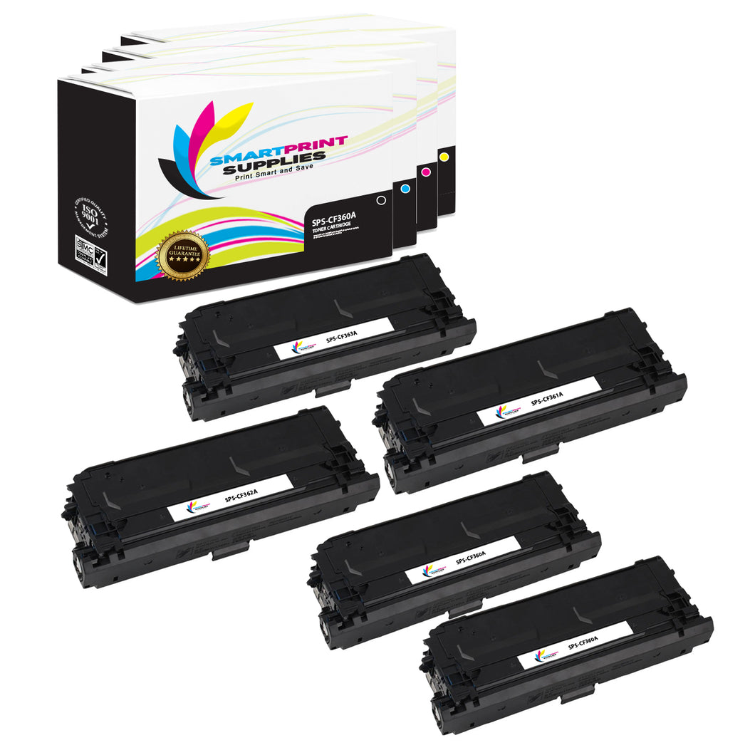 5 Pack HP 508A 4 Colors Toner Cartridge Replacement By Smart Print Supplies