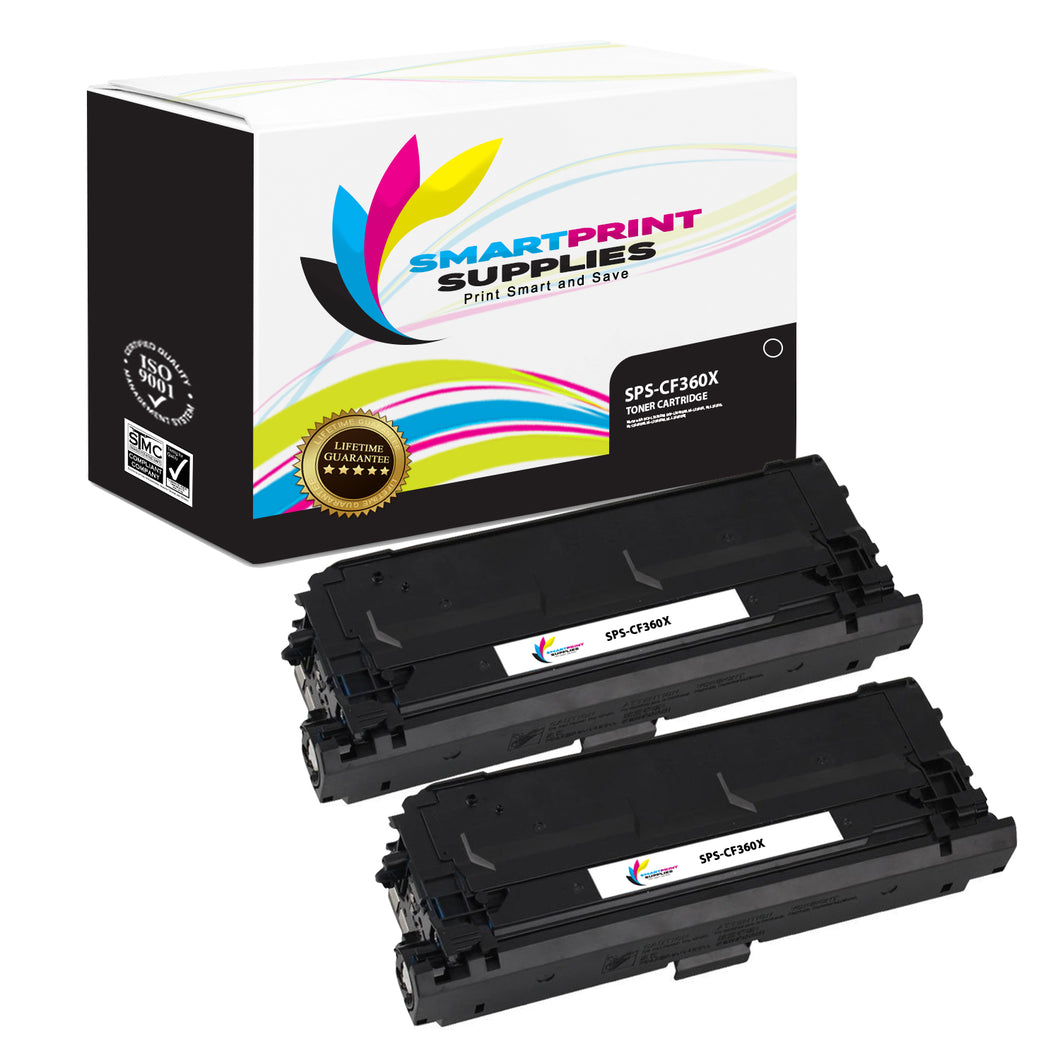 2 Pack HP 508X CF360X Replacement Black High Yield Toner Cartridge by Smart Print Supplies