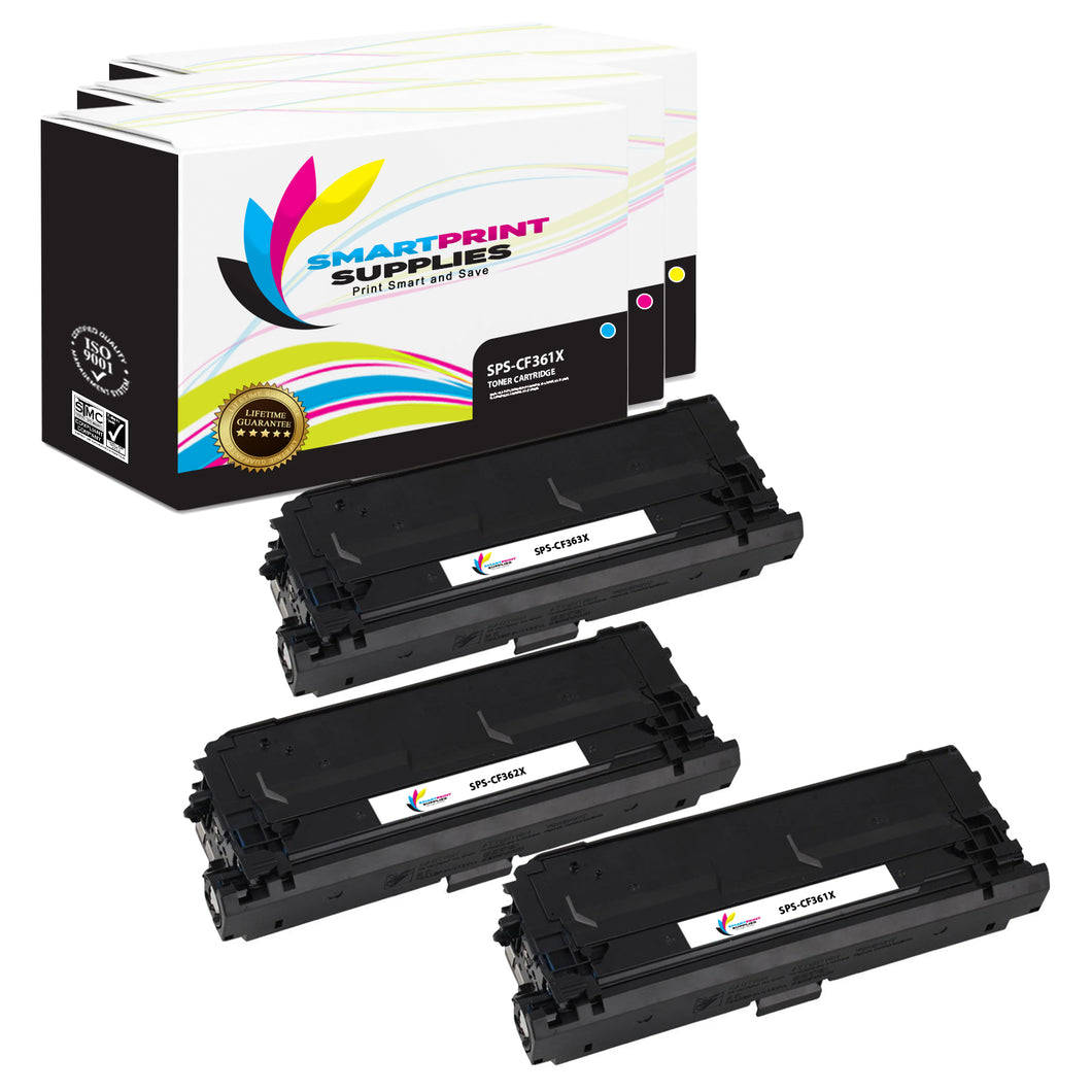 3 Pack HP 508X Replacement (CMY) High Yield Toner Cartridge by Smart Print Supplies