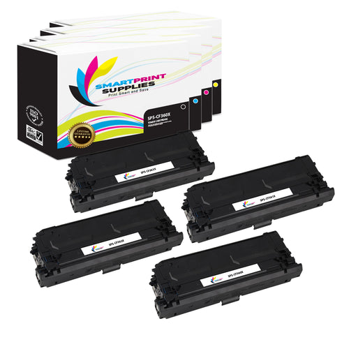 4 Pack HP 508X Replacement (CMYK) High Yield Toner Cartridge by Smart Print Supplies