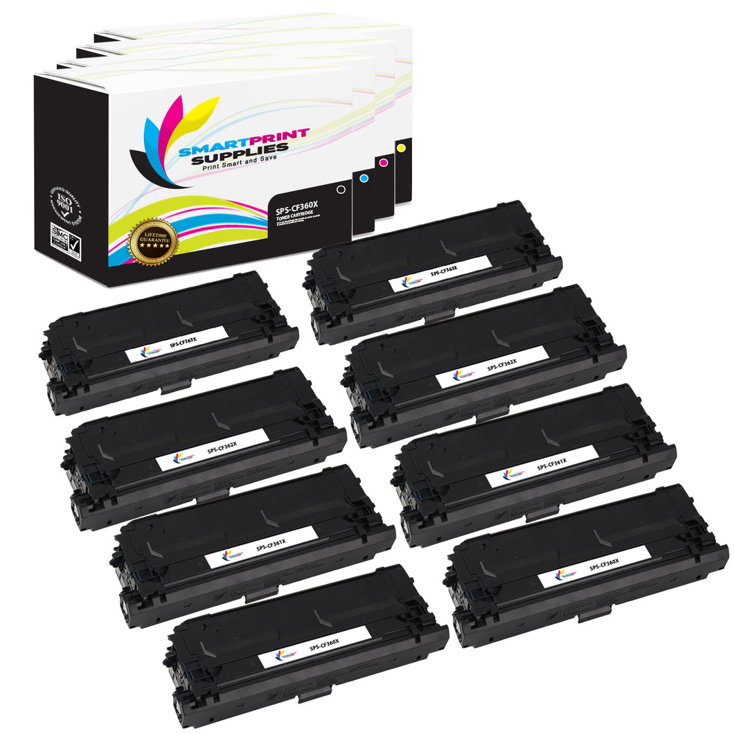 8 Pack HP 508X 4 Colors High Yield Toner Cartridge Replacement By Smart Print Supplies
