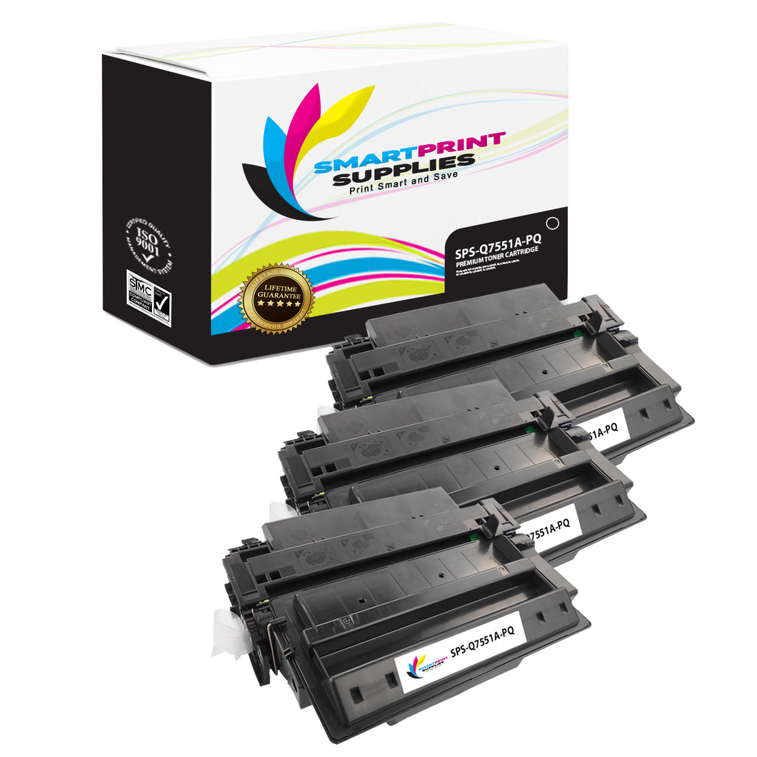3 Pack HP 51A Q7551A Premium Replacement Black Toner Cartridge by Smart Print Supplies