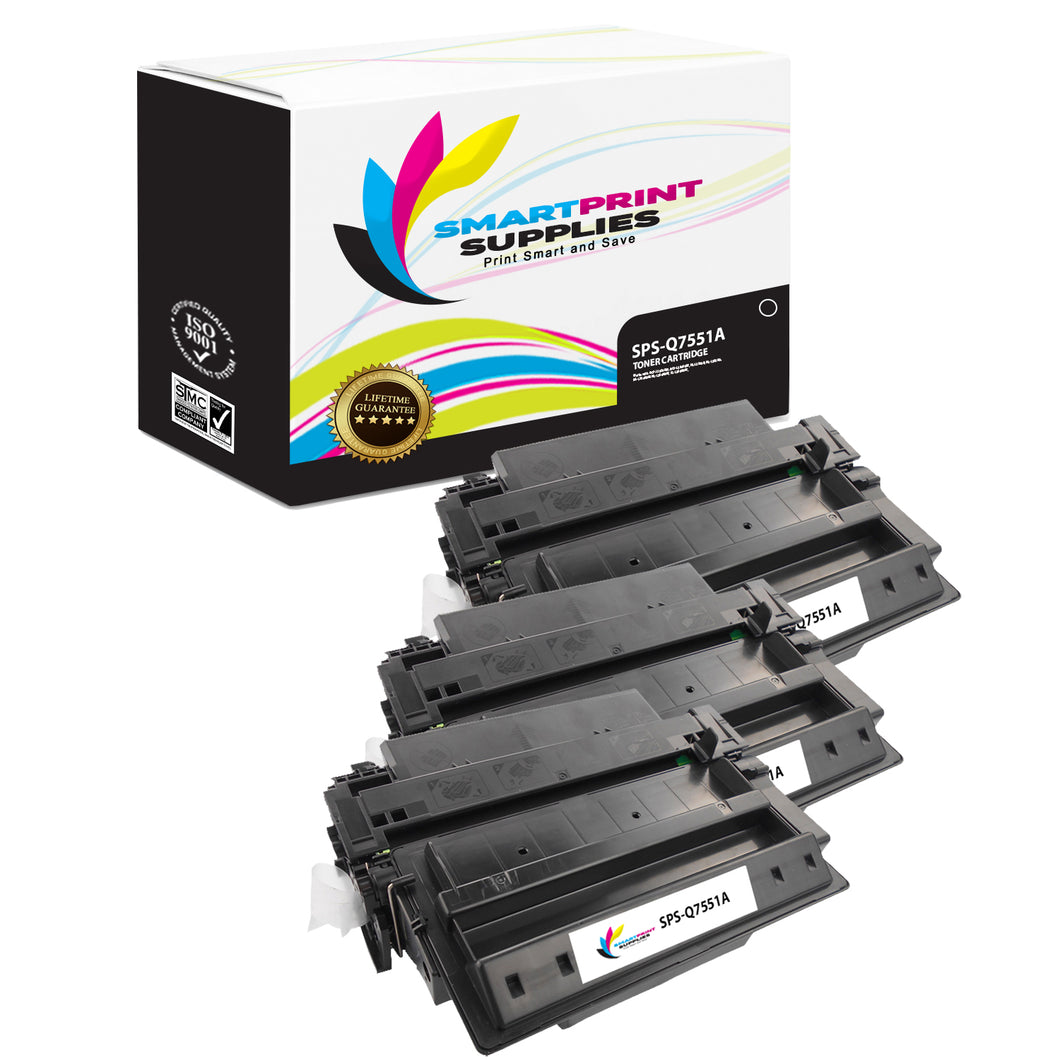 3 Pack HP 51A Q7551A Replacement Black Toner Cartridge by Smart Print Supplies