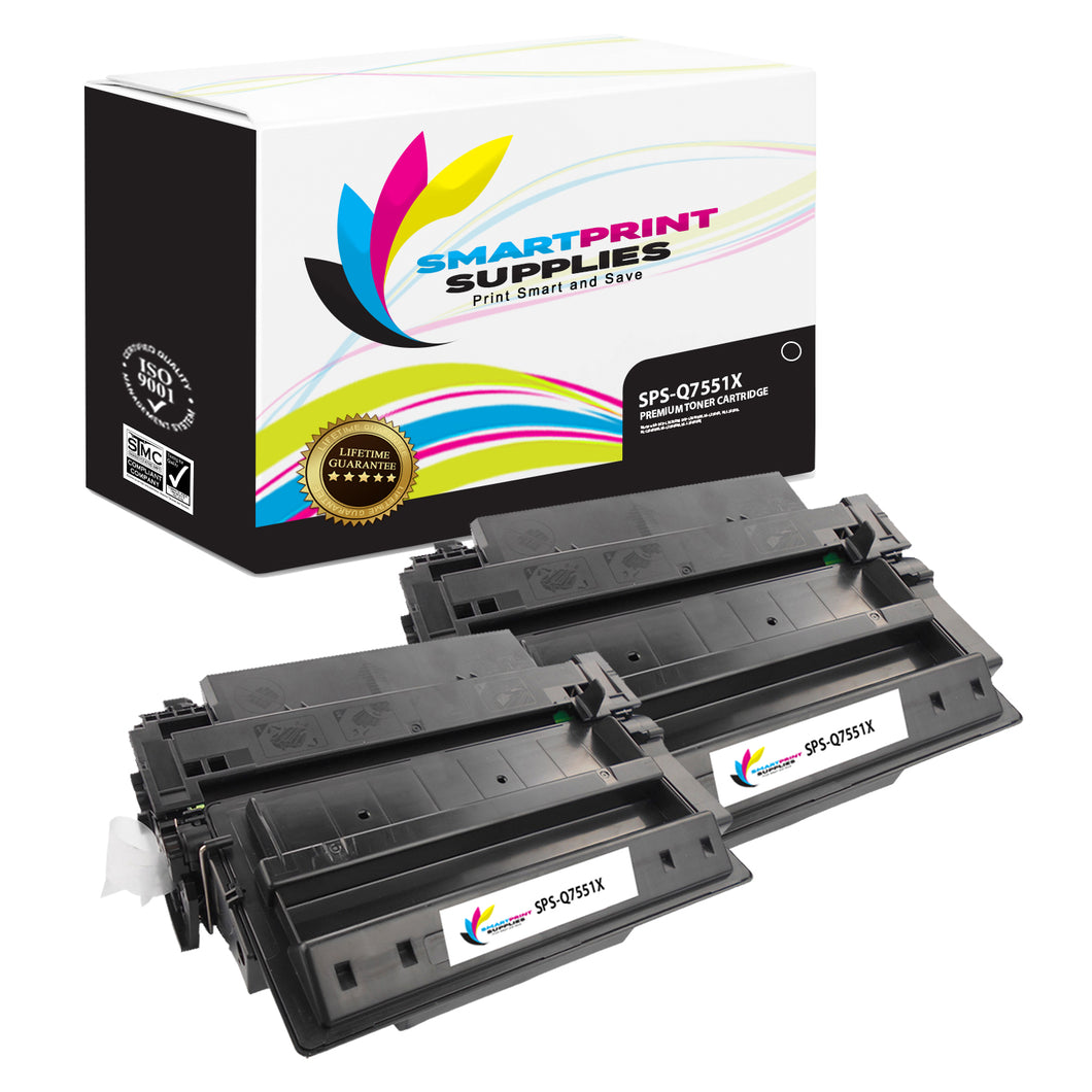 2 Pack HP 51X Q7551X Replacement Black Toner Cartridge by Smart Print Supplies